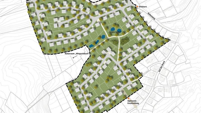 Wohngebiet Schaumbergblick, Theley: Kernplan erarbeitet ein Städtebauliches Konzept mit 100 Baustellen